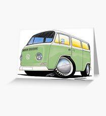 VW Bay Window Camper Van Light Green Greeting Card