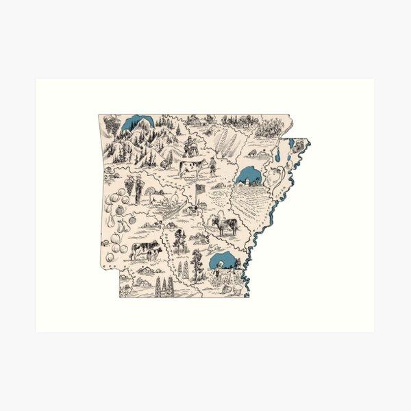 Arkansas Vintage Picture Map Art Print