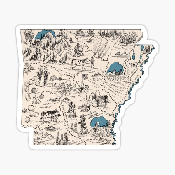 Arkansas Vintage Picture Map Sticker