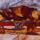 Kalahari scene in Stained Glass by Maree Clarkson