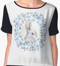 Rabbit and floral wreath Chiffon Top