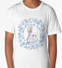 Rabbit and floral wreath Long T-Shirt