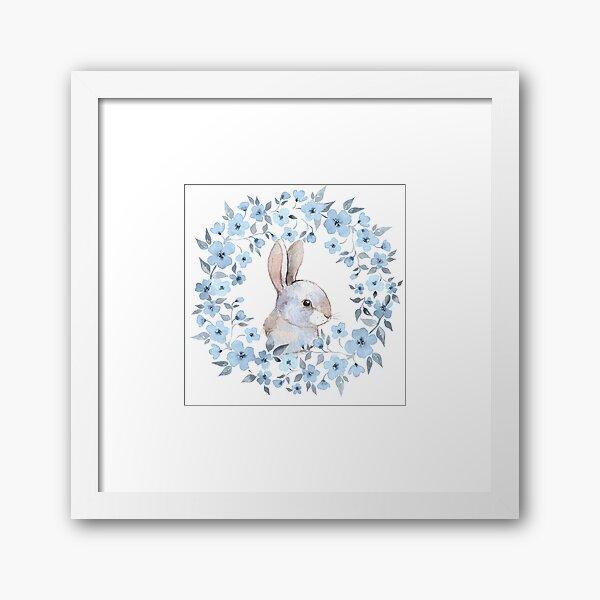 Rabbit and floral wreath Framed Art Print