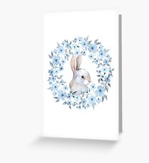 Rabbit and floral wreath Greeting Card