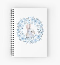 Rabbit and floral wreath Spiral Notebook