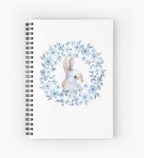 Cuaderno de espiral Conejo y corona floral