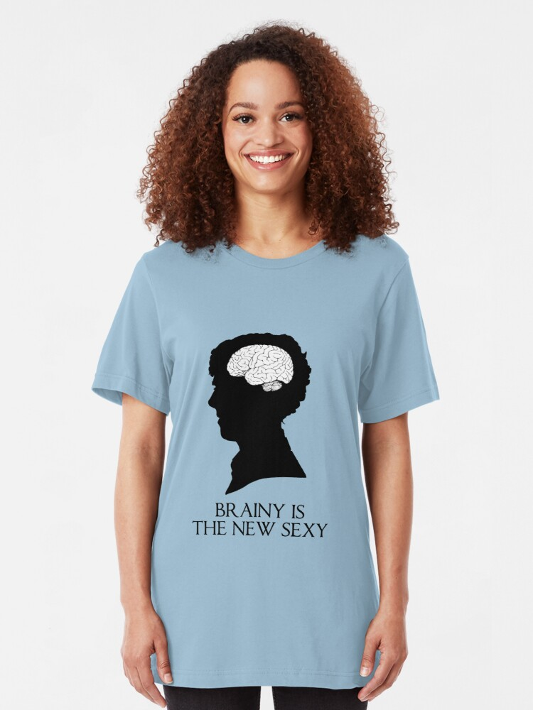Alternate view of Brainy Is The New Sexy Slim Fit T-Shirt