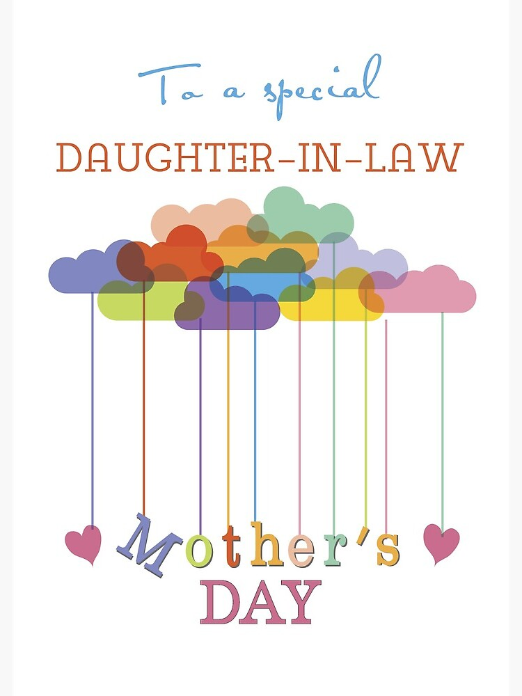 Daughter In Law Cute Mother S Day Rainbow Clouds And Hearts Greeting Card By Sandrarose Redbubble