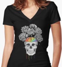 Skull with rainbow brains Women's Fitted V-Neck T-Shirt
