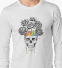 Skull with rainbow brains Long Sleeve T-Shirt