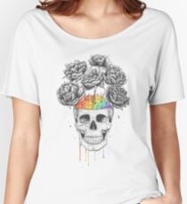 Skull with rainbow brains Women's Relaxed Fit T-Shirt