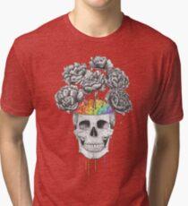 Skull with rainbow brains Tri-blend T-Shirt