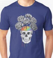 Skull with rainbow brains Unisex T-Shirt