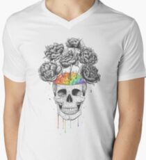 Skull with rainbow brains Men's V-Neck T-Shirt