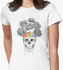 Skull with rainbow brains Womens Fitted T-Shirt