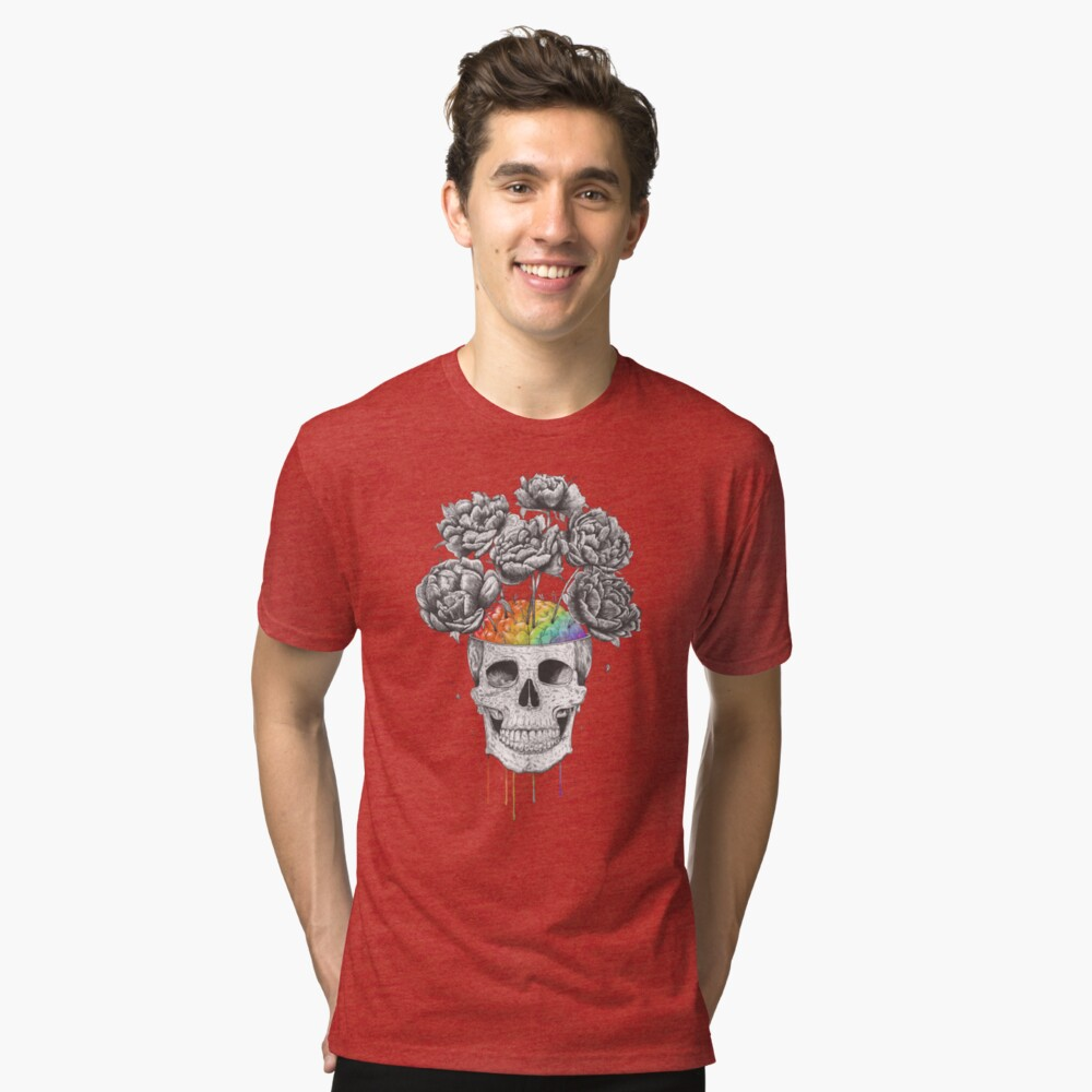 Skull with rainbow brains Tri-blend T-Shirt Front