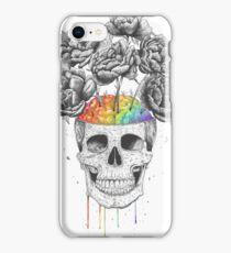 Skull with rainbow brains iPhone Case/Skin