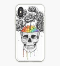 Skull with rainbow brains iPhone Case