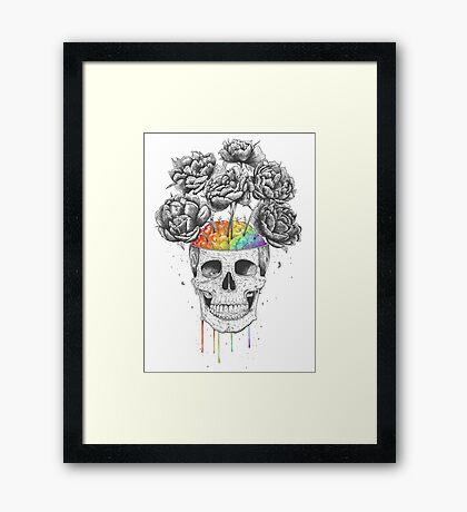 Skull with rainbow brains Framed Print