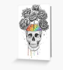 Skull with rainbow brains Greeting Card