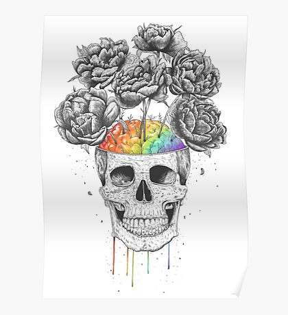 Skull with rainbow brains Poster