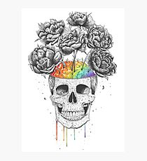 Skull with rainbow brains Photographic Print