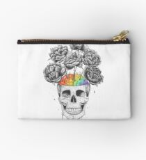 Skull with rainbow brains Studio Pouch