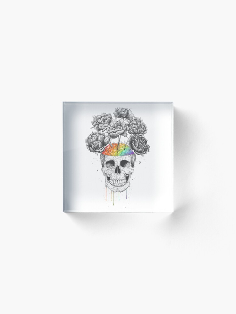 Alternate view of Skull with rainbow brains Acrylic Block