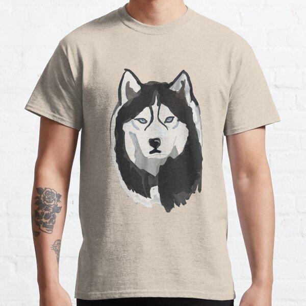 SLED DOG SPIRIT SIBERIAN HUSKY HEAD PERSONALISED T SHIRT HUSKIES NAVY BLUE GIFT