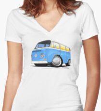 VW Bay (Early) Light Blue Women's Fitted V-Neck T-Shirt