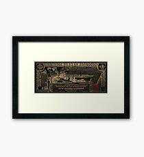 One U.S. Dollar Bill - 1896 Educational Series in Gold on Black  Framed Print