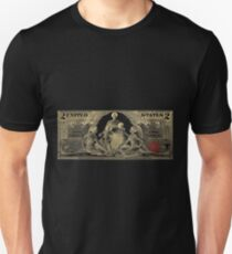 Two U.S. Dollar Bill - 1896 Educational Series in Gold on Black  Unisex T-Shirt