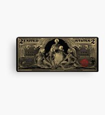 Two U.S. Dollar Bill - 1896 Educational Series in Gold on Black  Canvas Print