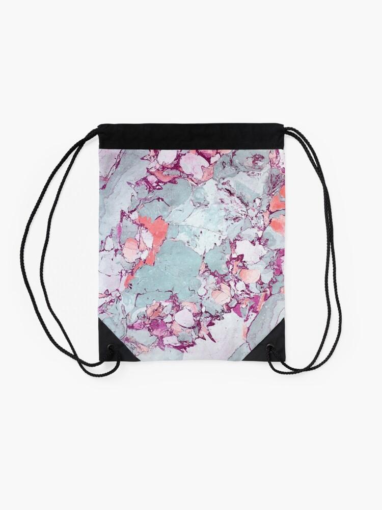 Alternate view of Marble Art V13 #redbubble #pattern #home #tech #lifestyle Drawstring Bag