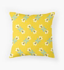 Scandinavian flowers 07, teal and yellow tulips, pattern  Throw Pillow