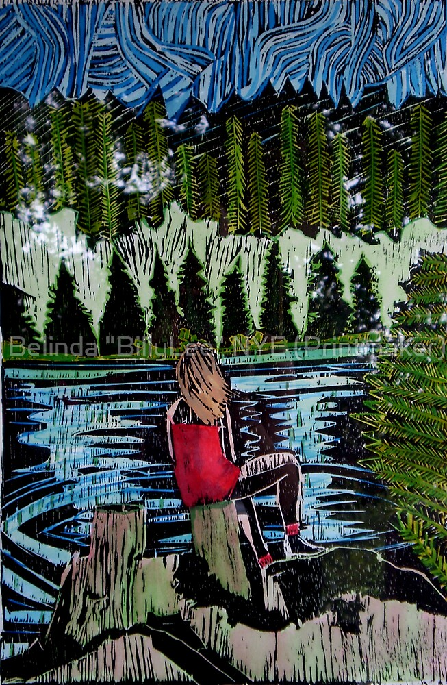 "Mirror Lake  (She sits and waits.) by Belinda ""BillyLee"" NYE (Printmaker)"