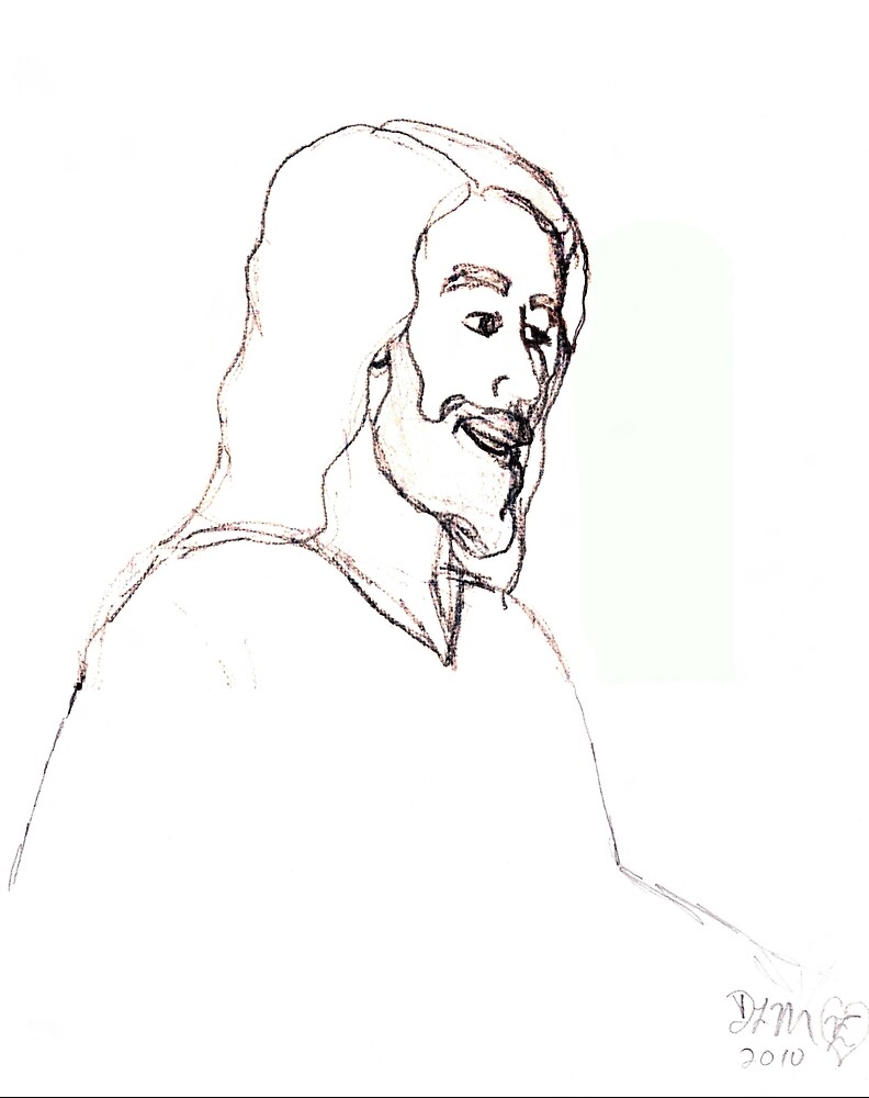 sketch of Jesus by Dawna Morton