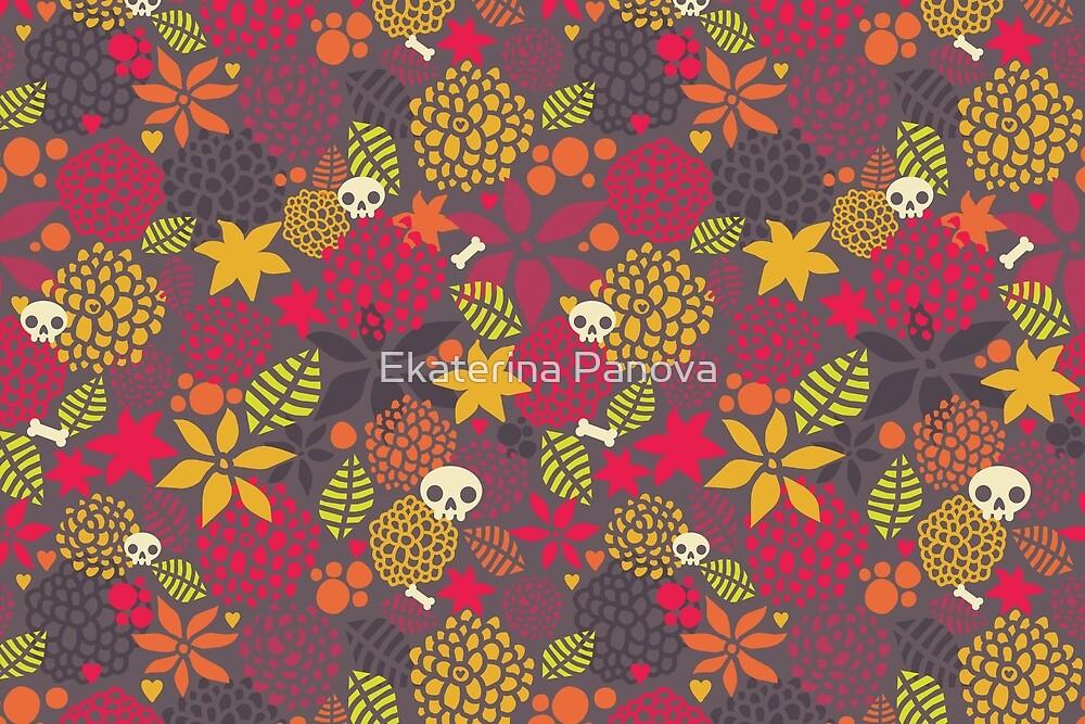 Skulls and flowers by Ekaterina Panova