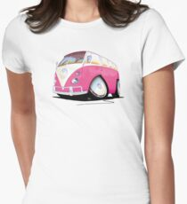 VW Splitty Camper Van Pink Womens Fitted T-Shirt