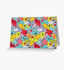 Birds and hearts and colorful blur Greeting Card