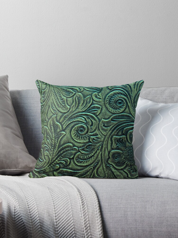 Rustic Green Embossed Tooled Leather Floral Scrollwork Design by RandP Walriven