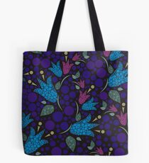 Flowers bells formed by circles in blue Tote Bag