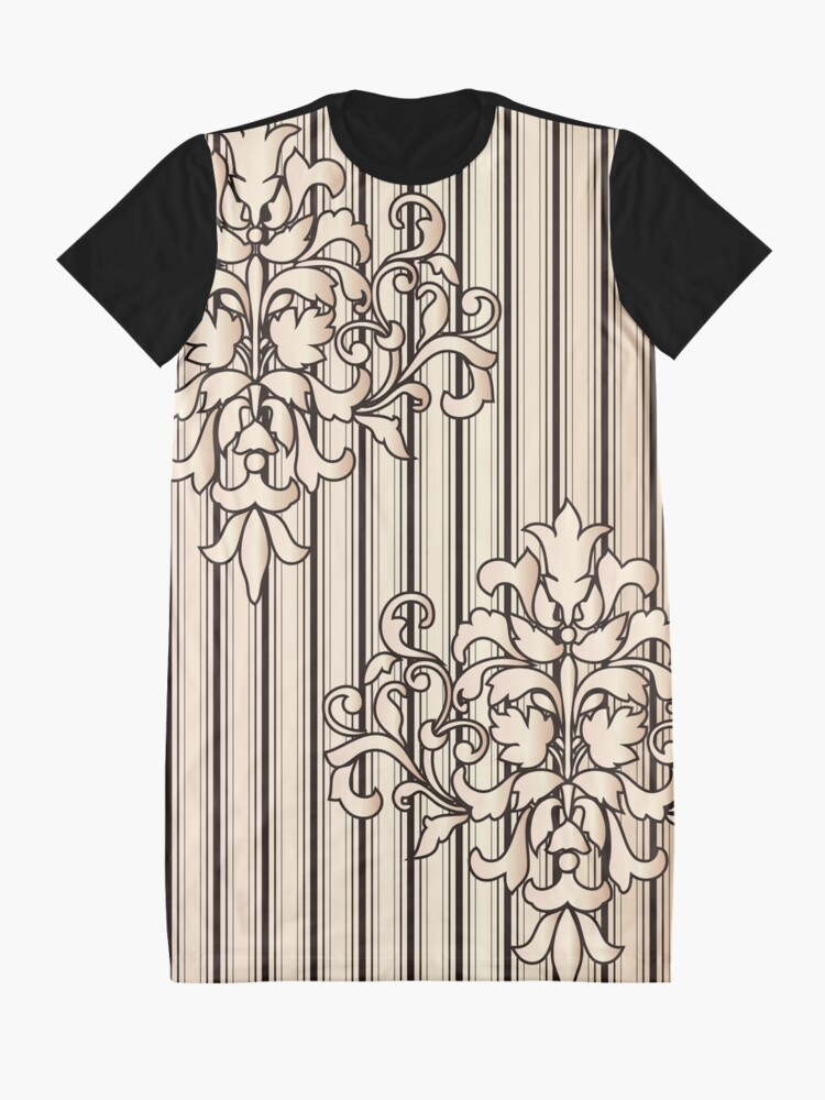 Alternate view of Damask Stripes Girly Neutral Monochrome Graphic T-Shirt Dress
