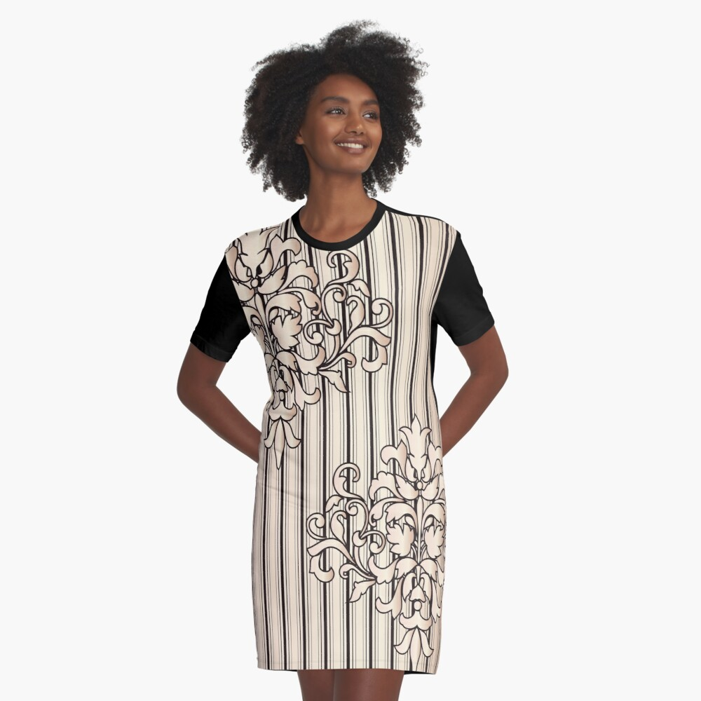 Damask Stripes Girly Neutral Monochrome Graphic T-Shirt Dress