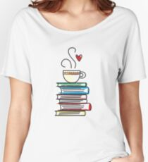 Cup of Tea and Books T-Shirt. Cute Gift for Book Lovers Women's Relaxed Fit T-Shirt