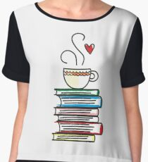 Cup of Tea and Books T-Shirt. Cute Gift for Book Lovers Chiffon Top