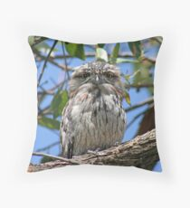 Frogmouth Throw Pillow