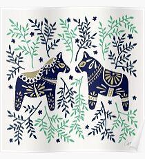 Swedish Dala Horse – Navy & Mint Palette Poster