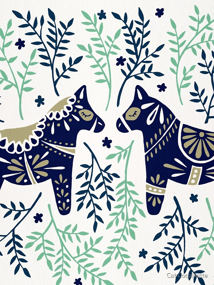 Swedish Dala Horse – Navy & Mint Palette by catcoq