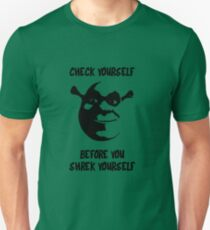 Check Yourself Before You Shrek Yourself (Black Transparent) T-Shirt